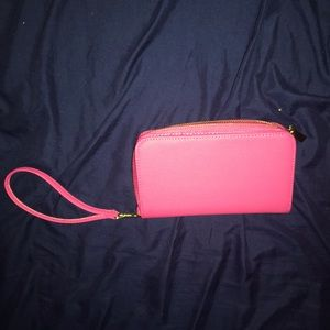 Rectangular hot pink wallet